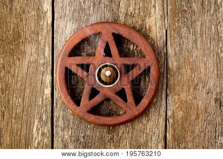 Wooden Wiccan Pentagram With Incense Burning - On Wooden Background