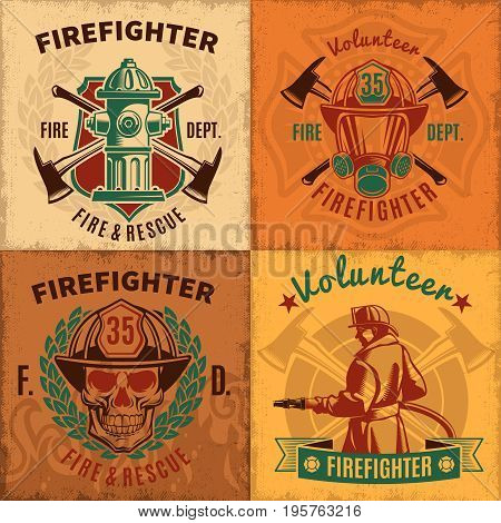 Vintage firefighting emblems set with fireman skull helmet mask hydrant and crossed axes vector illustration