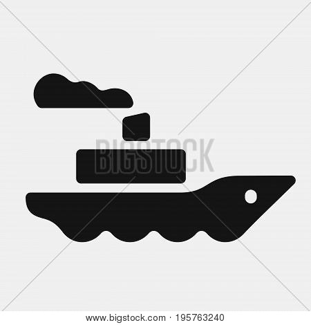 Steamship icon, ship with smoke from the pipe floats on the waves, black silhouette vector illustration