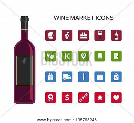 Set of vector icons for selling wine online. Icons of bottles and glasses region and type of cork shopping card and offer. For wine market websites e-commerce.