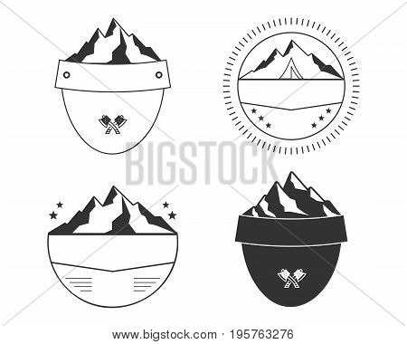 Set of silhouette badge shapes. Simple badge shapes design for outdoors patches, labels. Silhouett badge shapes templates. .