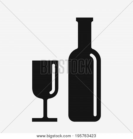 Wine icon, glass and bottle simple black vector illustration isolated on white background