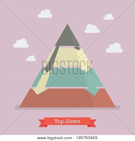 Top-down pyramid business strategy. Vector illustration graphic
