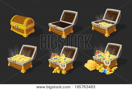 Isometric treasure chests animation set with closed empty full of gold coins bars jewelry boxes isolated vector illustration