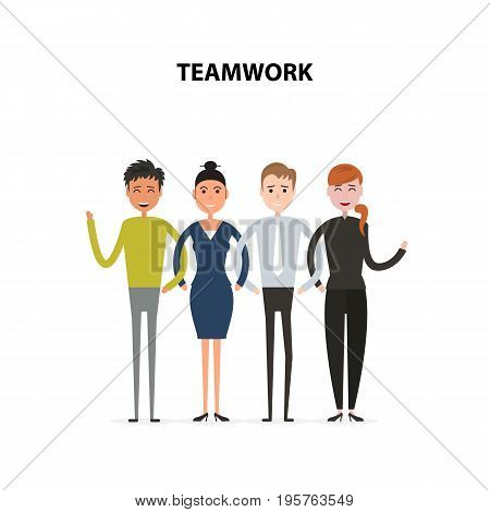 Business team of employees and the boss vector icon.Business company partners.Vector flat design illustration