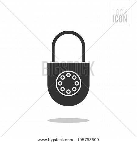 Padlock. Flat black icon of lock isolated on white background. Object of safety and protection.