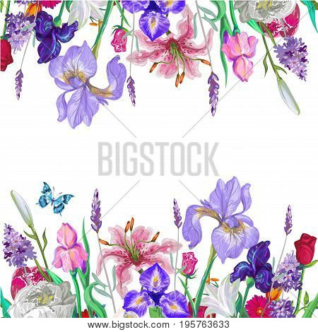 Tender floral empty template with butterfly, vector hand drawn design on white stock art