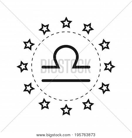 Libra. Sign of the zodiac. Flat symbol horoscope and predictions. Vector object for design