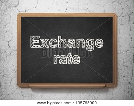 Banking concept: text Exchange Rate on Black chalkboard on grunge wall background, 3D rendering