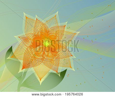 Vector abstract fancy flower with the background for decoration