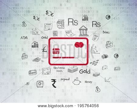 Money concept: Painted red Credit Card icon on Digital Data Paper background with  Hand Drawn Finance Icons