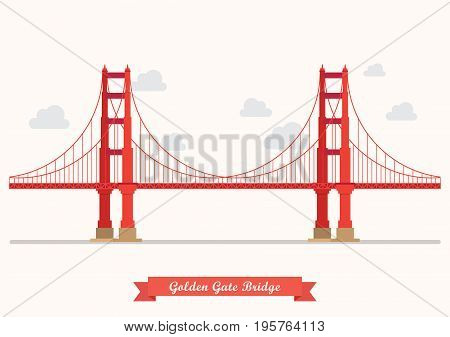 Golden Gate Bridge illustration. Flat style design isolated on background