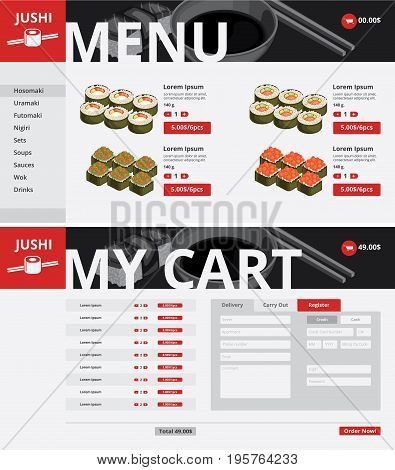 Asian food website page template with navigation menu sushi sets list of products and prices vector illustration