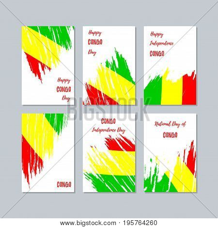Congo Patriotic Cards For National Day. Expressive Brush Stroke In National Flag Colors On White Car