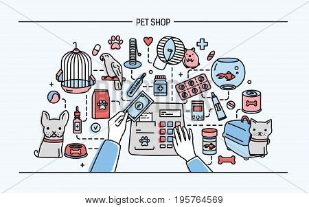 Pet shop horizontal banner featuring animals and meds selling. Horizontal colorful line art vector illustration