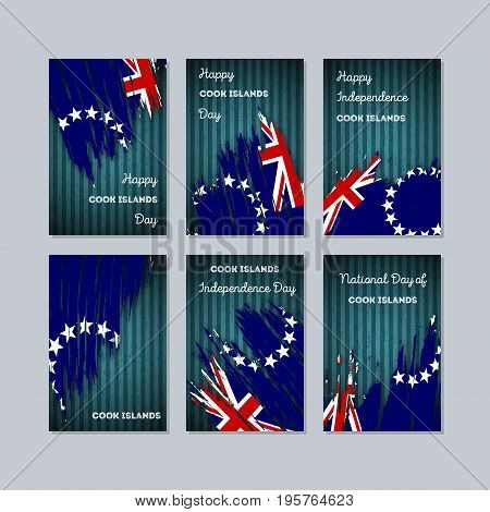 Cook Islands Patriotic Cards For National Day. Expressive Brush Stroke In National Flag Colors On Da