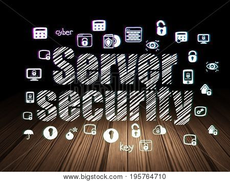 Security concept: Glowing text Server Security,  Hand Drawn Security Icons in grunge dark room with Wooden Floor, black background
