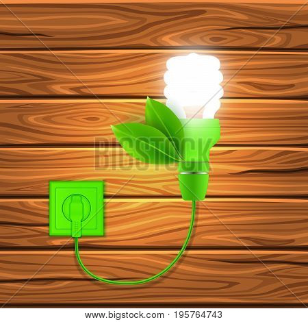 Realistic eco technology concept with shining fluorescent lamp green wire and leaves on wooden background vector illustration