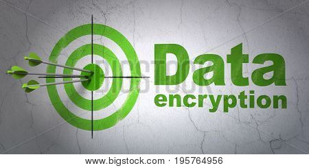 Success privacy concept: arrows hitting the center of target, Green Data Encryption on wall background, 3D rendering