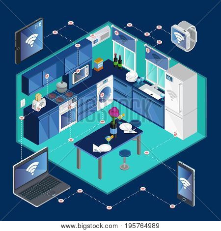 Isometric smart kitchen template with remote control of electronic appliances from tablet laptop watches phone vector illustration