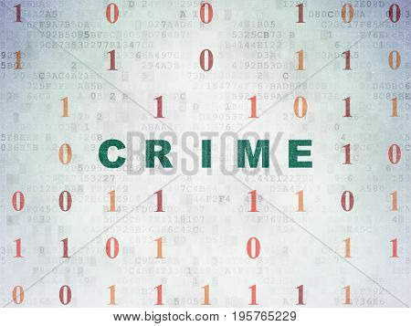 Privacy concept: Painted green text Crime on Digital Data Paper background with Binary Code