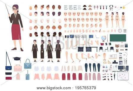 Teacher character constructor. Female lecturer creation set. Various postures, hairstyle, face, legs, hands, accessories, clothes collection. Vector cartoon illustration Woman front side back view