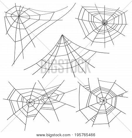 Halloween Spider Web Set Vector. Black Spider Web Isolated On White. For Halloween Design