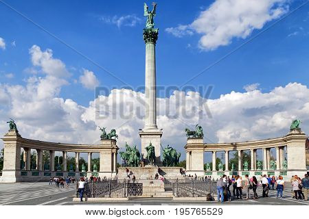 BUDAPEST HUNGARY - MAY 6: Millennium monument at Heroes' Square on May 6 2017 in Budapest