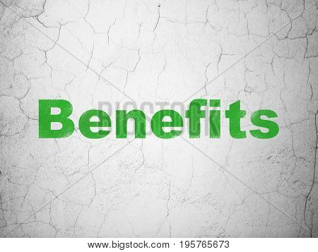 Business concept: Green Benefits on textured concrete wall background