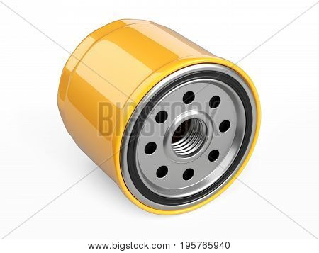 Oil filter car in a orange steel case. Automobile spare part. 3d illustration isolate on white background.