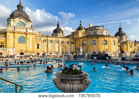 BUDAPEST HUNGARY - MAY 6: Swimming pool in Szechenyi thermal bath on May 6 2017 in Budapest