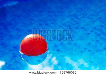 Red ball floating in clear blue swimming pool water plaything in poolside for summertime activity and recreation