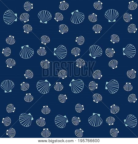 Seashell pattern, marine conch repeating vector background. Bivalve mollusk cockleshell, oceanic sea shell seamless textile pattern. Scallop fabric, beach symbol. Minimalist seashell graphic design.