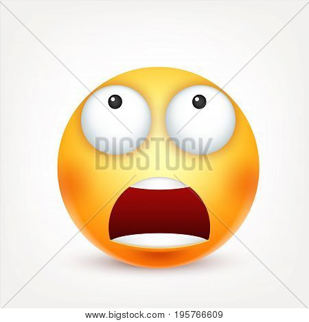 Smiley, emoticon. Yellow face with emotions. Facial expression. 3d realistic emoji. Sad, happy, angry faces.Funny cartoon character.Mood. Web icon. Vector illustration.