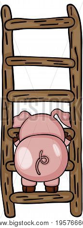 Scalable vectorial image representing a cute pig with ladder, isolated on white.