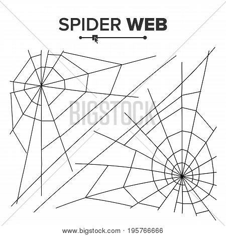 Halloween Spider Web Vector. Black Spider Web Isolated On White. Monochrome Hector Venom Cobweb For Halloween Design