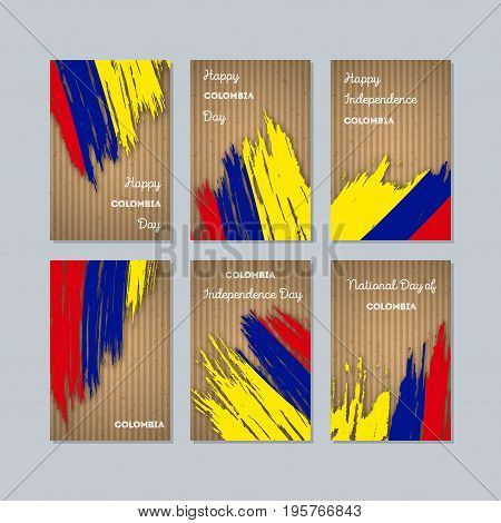 Colombia Patriotic Cards For National Day. Expressive Brush Stroke In National Flag Colors On Kraft