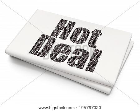 Finance concept: Pixelated black text Hot Deal on Blank Newspaper background, 3D rendering