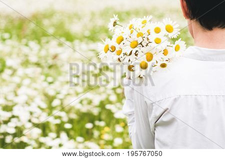 The Woman In White Clothes With A Bouquet In Her Hand In The Field Of Camomiles