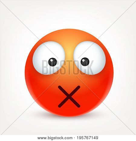 Smiley, emoticon. Red face with emotions. Facial expression. 3d realistic emoji. Sad, happy, angry faces.Funny cartoon character.Mood. Web icon. Vector illustration.