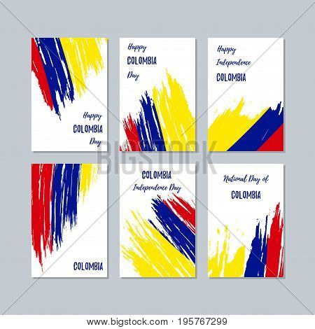 Colombia Patriotic Cards For National Day. Expressive Brush Stroke In National Flag Colors On White