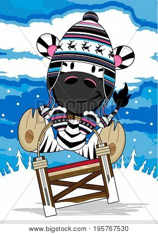 Cute Cartoon Zebra riding on a Sledge in Wooly Hat