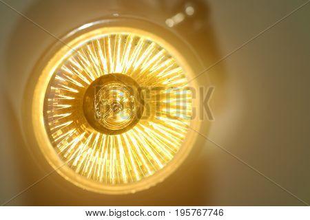 Yellow Led light bulb is shine and saving energy