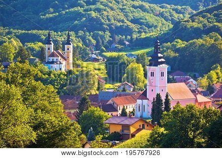 Village Of Strigova Towers And Green Landscape