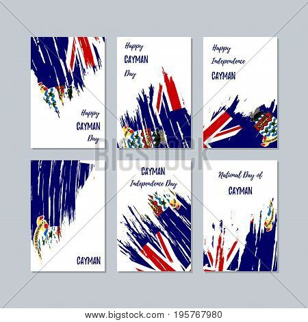 Cayman Patriotic Cards For National Day. Expressive Brush Stroke In National Flag Colors On White Ca