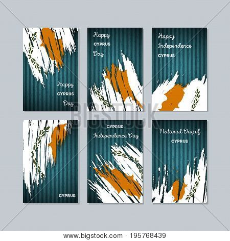 Cyprus Patriotic Cards For National Day. Expressive Brush Stroke In National Flag Colors On Dark Str