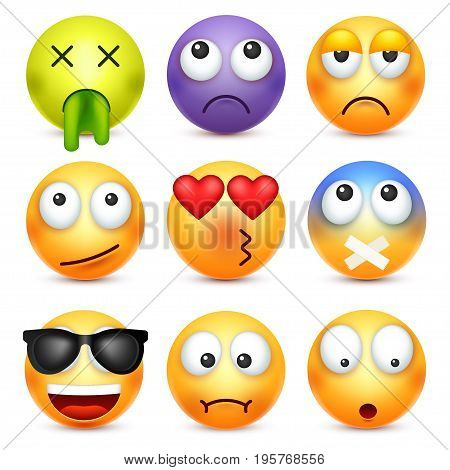 Smiley, emoticon set. Yellow face with emotions. Facial expression. 3d realistic emoji. Sad, happy, angry faces.Funny cartoon character.Mood. Web icon. Vector illustration.