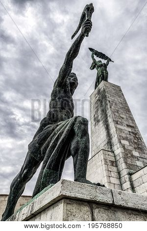 Liberty statue on Gellert hill in Budapest Hungary