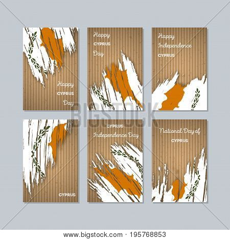 Cyprus Patriotic Cards For National Day. Expressive Brush Stroke In National Flag Colors On Kraft Pa