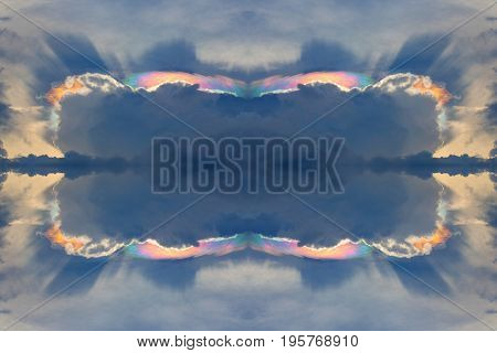 sunlight reflection become rainbow in cloudy sky